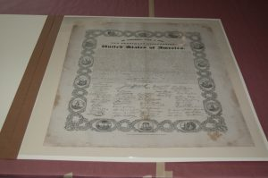 Stereotyped print of The Declaration of Independence, [1830s], After Treatment, recto, in polyester sleeve and folder